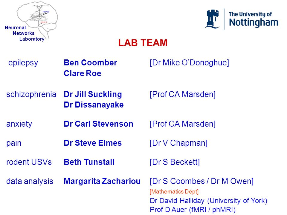 LAB TEAM epilepsy Ben Coomber [Dr Mike O'Donoghue] Clare Roe